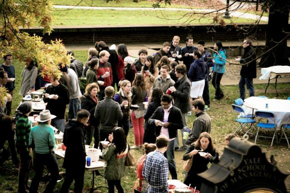 The first annual SOM Chili Cookoff in Caulkins Courtyard. Photo by Lokesh Todi '14.