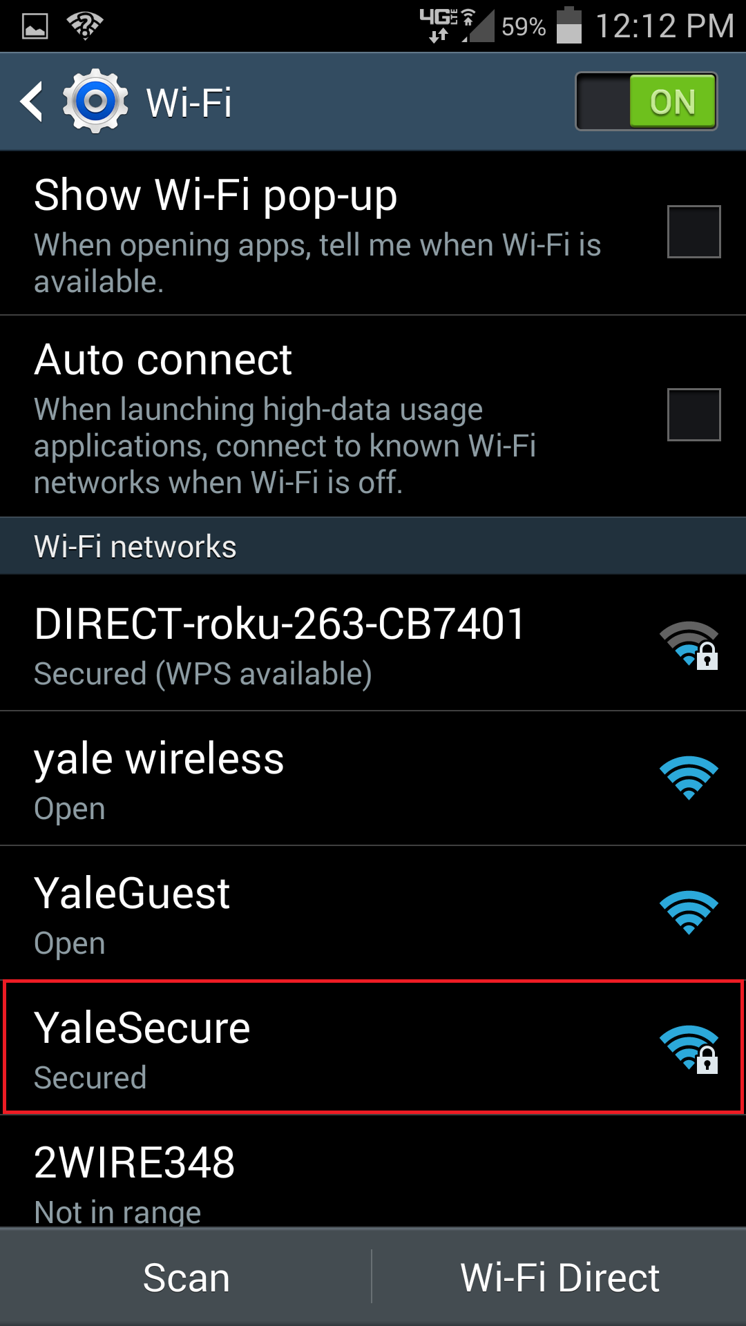 Connecting Samsung Galaxy to Yale Secure wifi - SOM IT